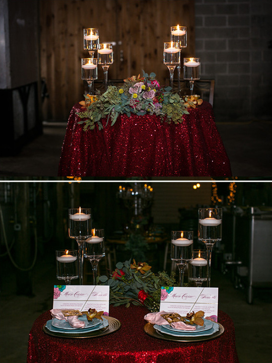 red glitter sweetheart table @weddingchicks
