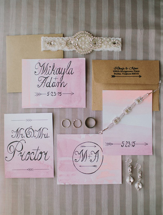 pink water color invites @weddingchicks