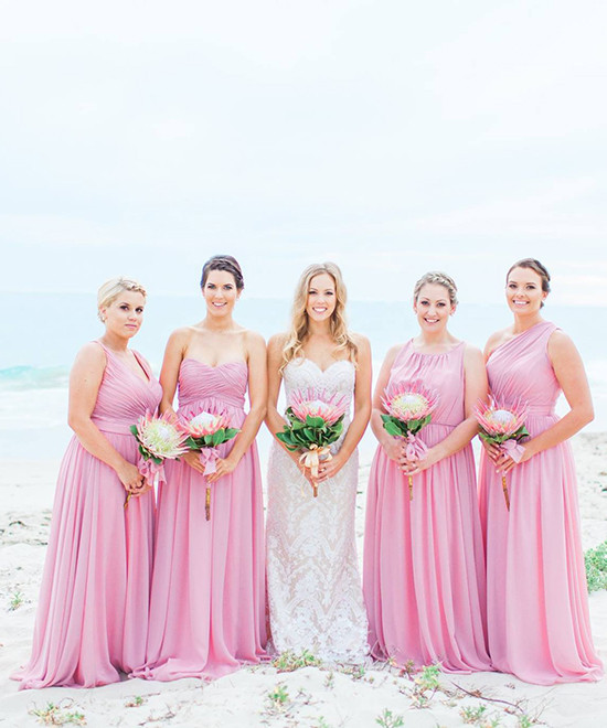 Long Pink Bridesmaid Dresses Weddings