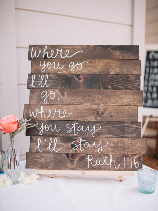 wooden sign @weddingchicks