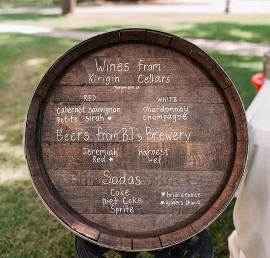 wine barrel bar sign @weddingchicks