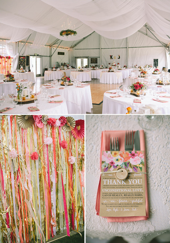 incredible pink and white wedding reception @weddingchicks