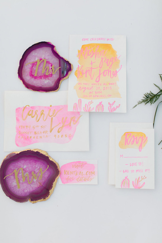 pink and orange water color invites @weddingchicks