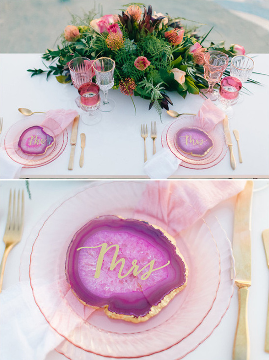 geode place cards @weddingchicks