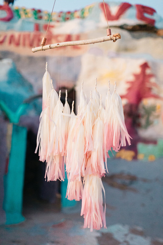 pink ombre tassle banner @weddingchicks