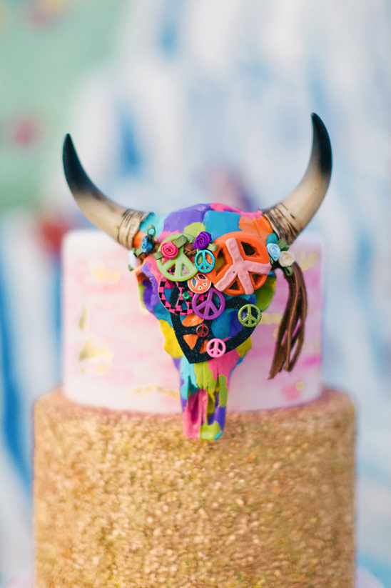 colorful peace skull cake topper @weddingchicks