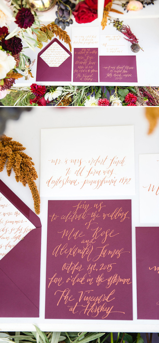 purple and gold wedding stationery @weddingchicks