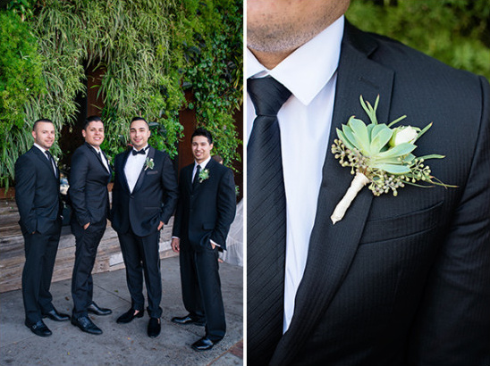 groomsmen with succulent boutonniere @weddingchicks