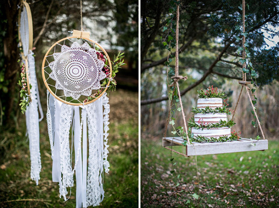 dream catchers and wedding cake @weddingchicks