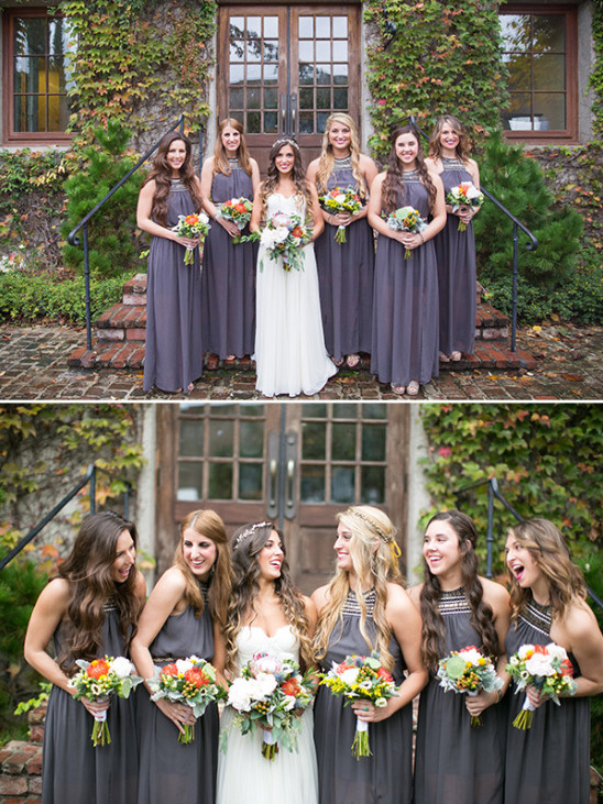 bridesmaids in gray @weddingchicks