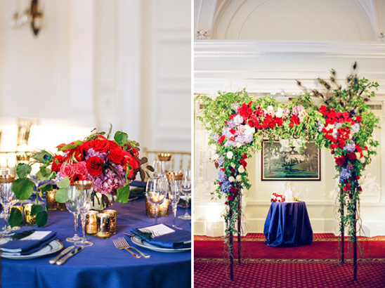 Navy Red and Gold Country Club Wedding
