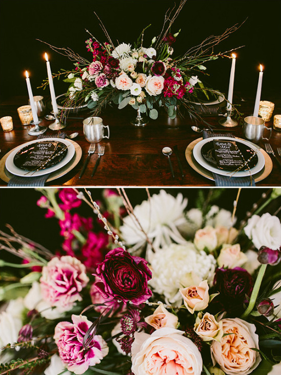 marsala floral table centerpiece @weddingchicks