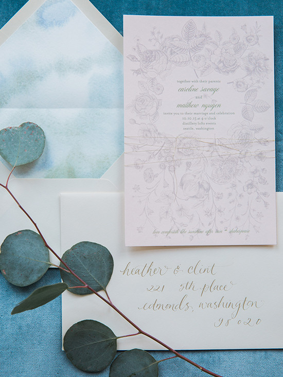 botanical wedding invite @weddingchicks