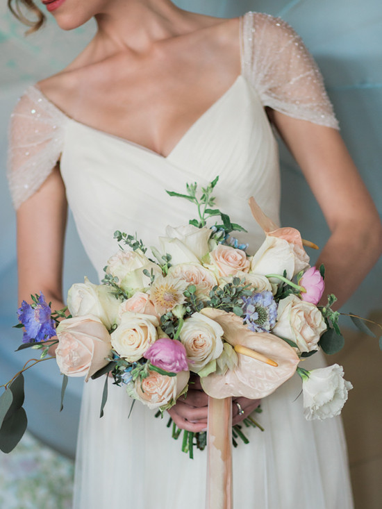 romantic white, lavendar and peach wedding bouquet from @butterandbloom
