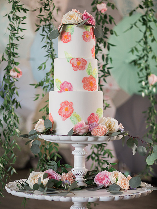 handpainted wedding cake @weddingchicks