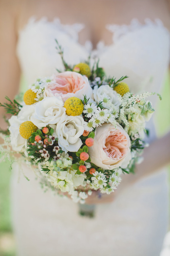 pink and yellow wedding bouquet @weddingchicks