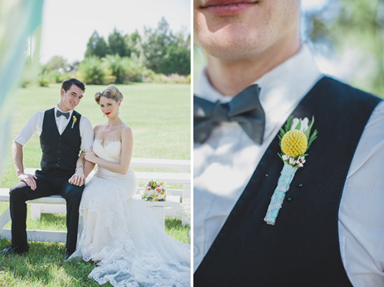 billy button boutonniere @weddingchicks