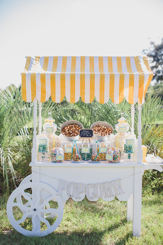 popcorn bar cart idea @weddingchicks