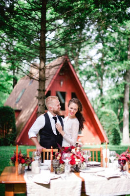 Scandinavian Red And Black Rustic Wedding