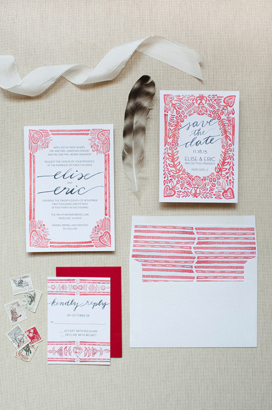 red and white wedding stationery @weddingchicks