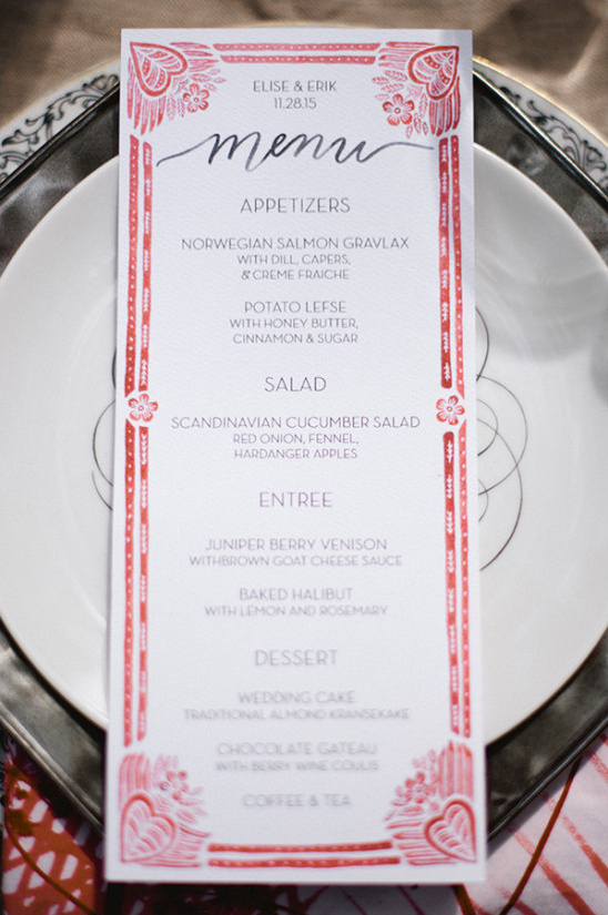 red and white wedding menu @weddingchicks