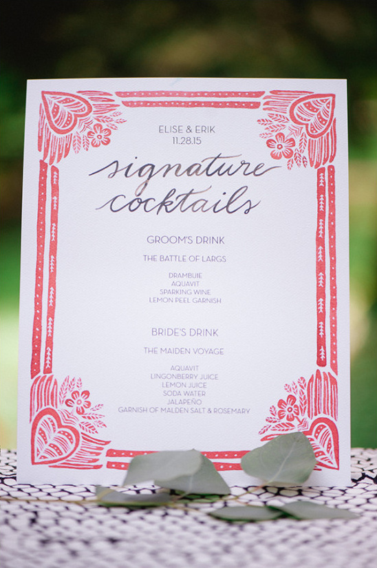 white and red wedding drinks menu @weddingchicks