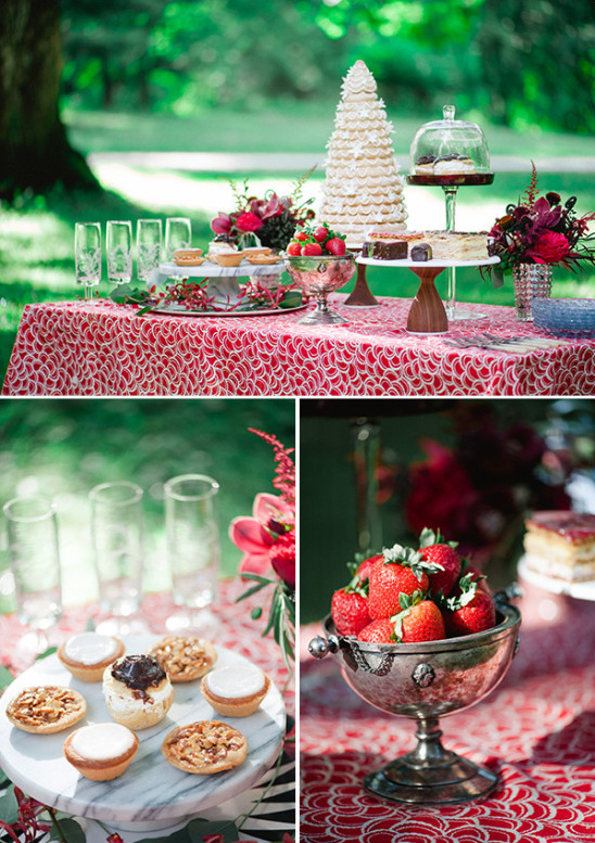 red and white wedding desserts @weddingchicks