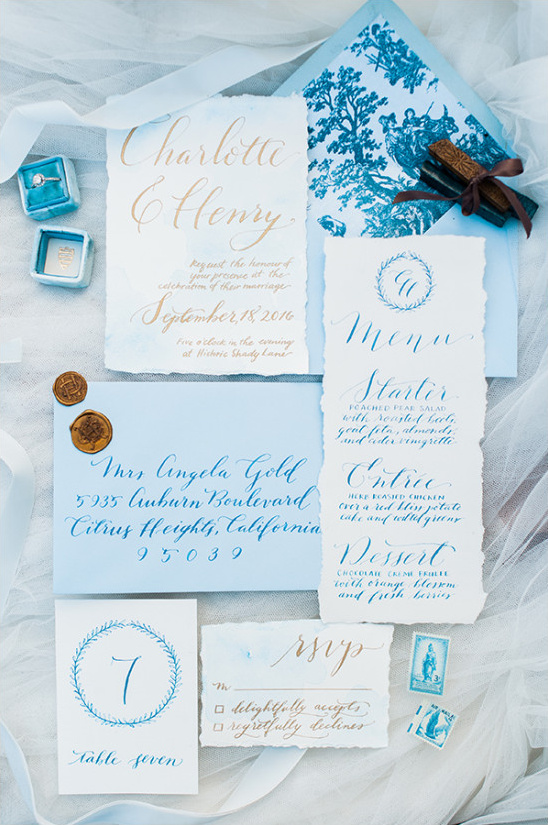 white blue and gold wedding stationery @weddingchicks