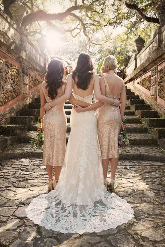 gold bridesmaid dresses from @brideside
