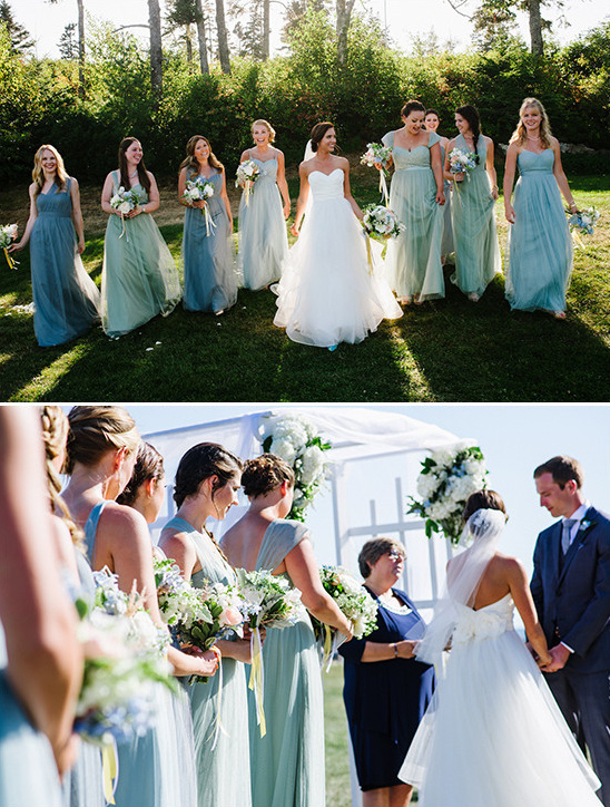 shades of blue Joanna August bridesmaid dresses from @brideside
