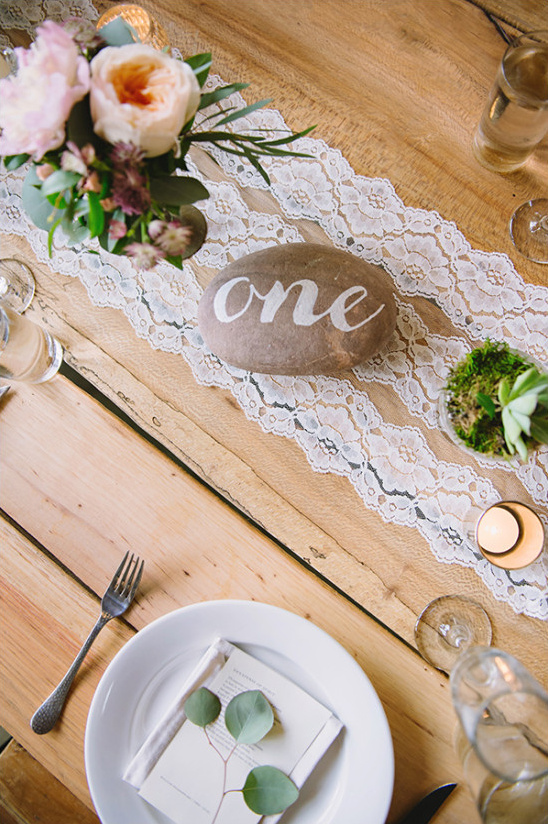 river rock table numbers @weddingchicks