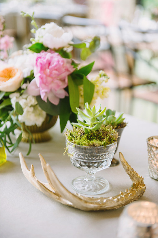 succulent and antler table decor @weddingchicks