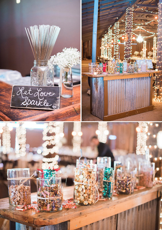 sparklers and candy bar @weddingchicks