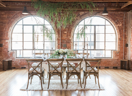 Natural and Industrial reception decor @weddingchicks