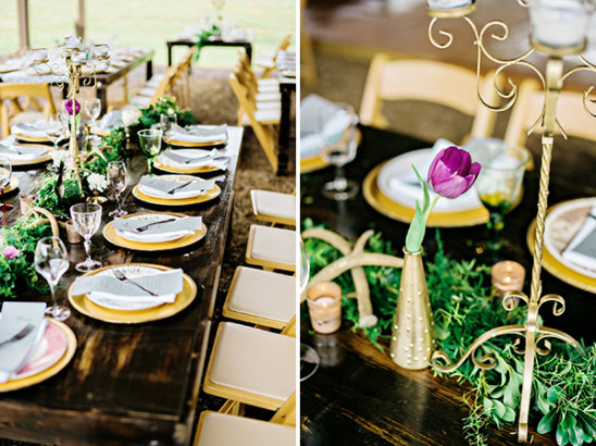 purple and gold wedding reception @weddingchicks
