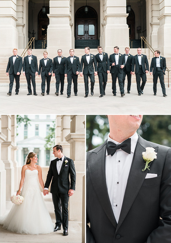 classic black tux groomsmen @weddingchicks