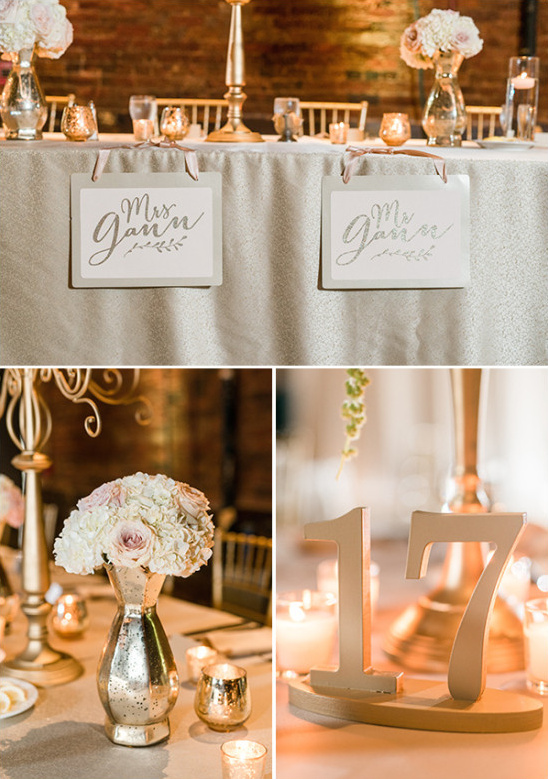 gold wedding reception @weddingchicks