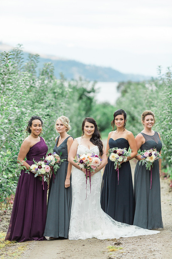 purple grey and blue bridesmaids @weddingchicks