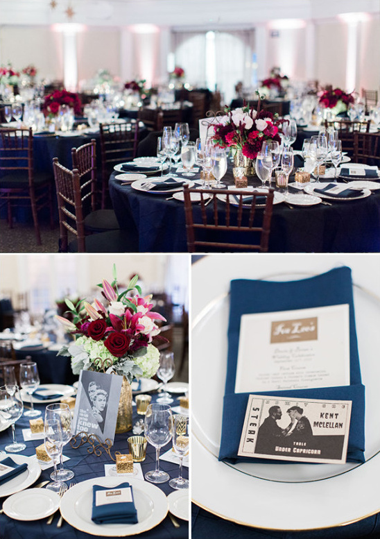 blue and red reception decor @weddingchicks