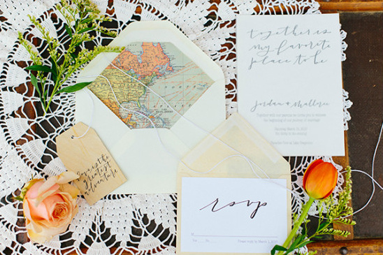 travel themed wedding stationery @weddingchicks