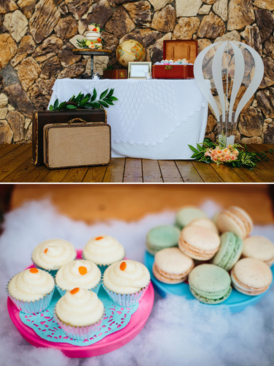 travel themed wedding dessert table @weddingchicks