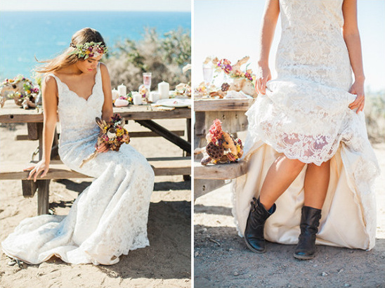 lace wedding dress with boots @weddingchicks
