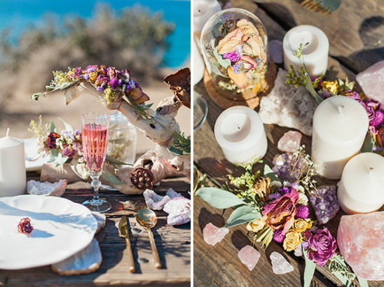 dried flower and crystal wedding table decor @weddingchicks