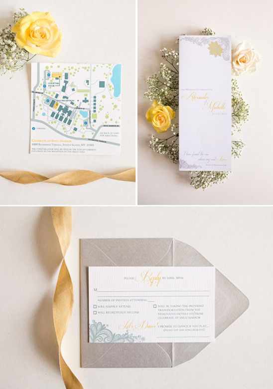 grey and yellow stationery @weddingchicks