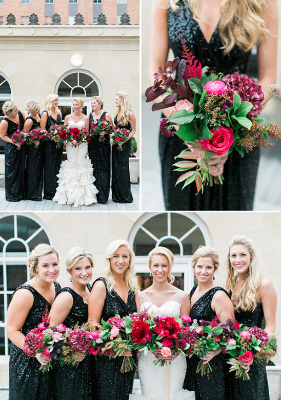 black and magenta bridesmaid look @weddingchicks