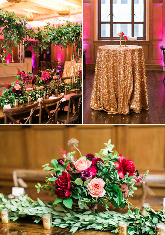 gold and magenta reception decor @weddingchicks
