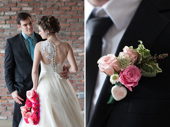 rose pink boutonniere @weddingchicks