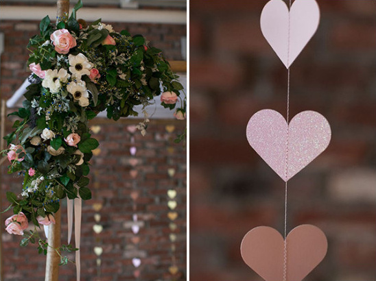 flower decor and glitter hearts @weddingchicks