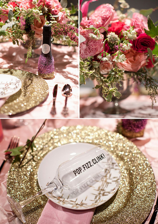 pink and gold glitter tablescape @weddingchicks