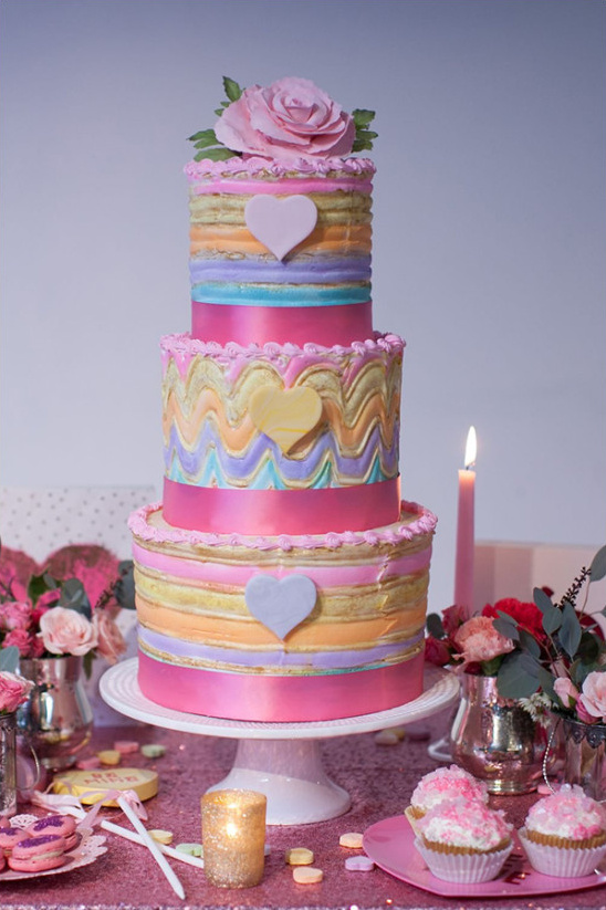 colorful rainbow cake @weddingchicks